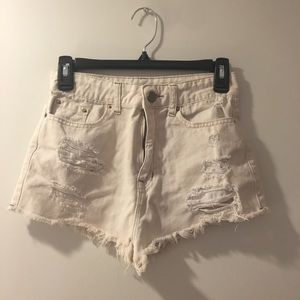 BDG Off White Distressed Shorts